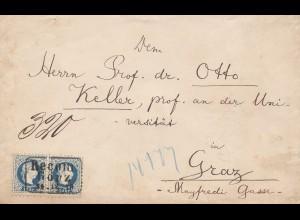 Österreich: Brief nach Graz, MiNr. 38II, 2x