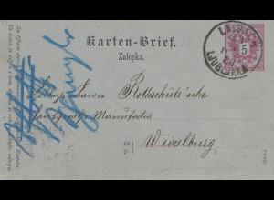 Österreich: 1888: Karten-Brief Laibach nach Wexelburg