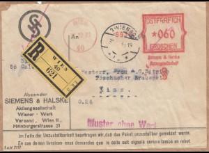 Österreich: 1931: Einschreiben -Muster ohne Wert- nach Linz, Paketvorderseite