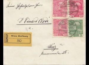 Österreich: 1916: Einschreiben Wien Hofburg, schwarzes Kreuz