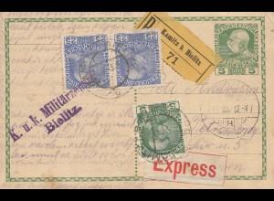 Österreich: 1915: Postkarte als Einschreiben von Bielitz-Express