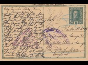 Österreich: 1917: Ganzsache nach England Isle of Man, Zensur, Kriegsgegner