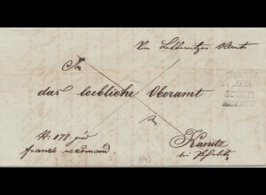 Österreich: 1845: Brief mit Inhalt nach Kanitz