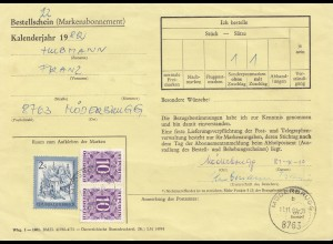 Österreich: 1981: Bestellschein Markenabo Moderbrugg