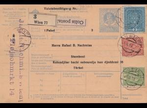 Österreich: 1918: Paketkarte Wien nach Instanbul, Ganzsache
