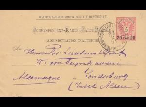 Ö-Levante 1891 Postkarte Constantinopel nach Sonderburg, Insel Alsen, ANK Nr. 7b