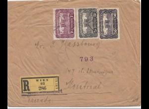 Ö: 1. Republik: 1921: Einschreiben Wien nach Canada/Montreal