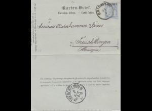 Ö-Levante: 1895: Karten Brief Salonique nach Treuchtlingen
