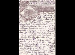 Ö-Levante: 1894: Ansichtskarte Gruss aus Tiberias nach Baden-Baden