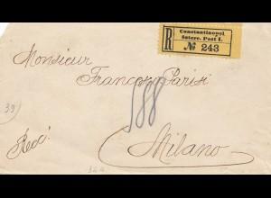 Ö-Levante: 1908: Einschreiben Constantinopel nach Milano