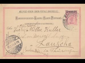 Ö-Levante: 1904: Postkarte Solonich nach Lauscha