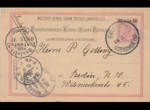 Ö-Levante: 1897: Postkarte Solonich nach Berlin