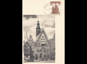 Polen: 1958: Maximumkarte Breslau - Wroclaw