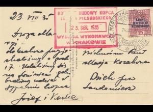 Polen: 1935: Ansichtskarte Model Kopca Pilsudskiego Krakau