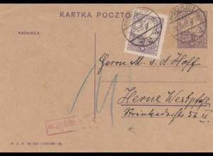 Polen: 1927: Bydgoszcz mit Nachgebühr nach Herne