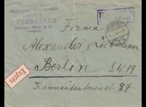 Polen: 1922: Einschreiben/Express Warschau nach Berlin