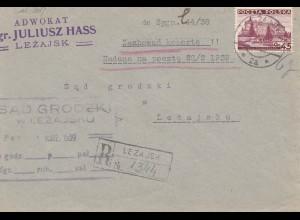 Polen: 1939: Dienst Lezajsk nach Lezajsku - Einschreiben