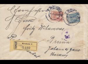 Polen: 1919: Einschreiben Krakau nach Brünn mit Briefinhalt