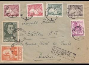 Polen: 1950: Einschreiben Katowice nach Österreich