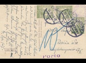 Polen: 1925: Ansichtskarte Krakau mit Nachporto nach Berlin