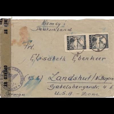Polen: 1947: Brief mit Zensur nach Deutschland