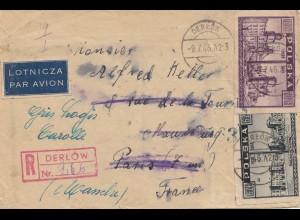 Polen: 1946: Derlow nach Paris - Einschreiben - Luftpost