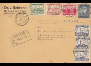 Polen: 1937: Einschreiben Bydgoszcz nach Leisnig, Devisen Kontrolle