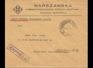 Polen: 1930: Warschau nach Berlin - Eilboten
