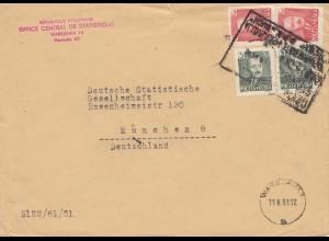Polen: 1951: Warschau Statistikbüro nach München