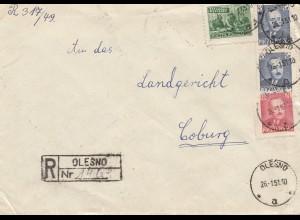 Polen: 1951: Einschreiben Olesno nach Coburg