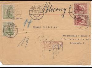 Polen: 1927 Poznan nach Weissenfels als Einschreiben