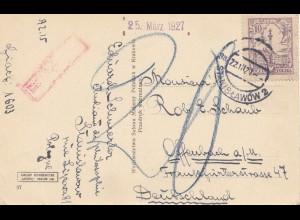 Polen: 1927 Ansichtskarte Krakau nach Offenbach - Nachporto