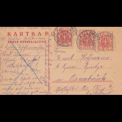 Polen: 1921: Postkarte nach Osnabrück