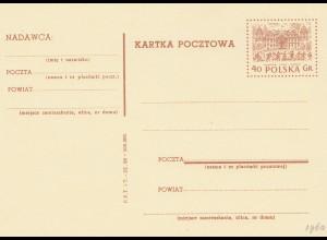 Polen: 1960 Ganzsache P203 I