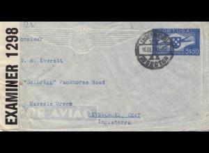Portugal: 1942 Lufpost Kriegsgefangenenpost nach England