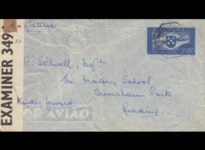 Portugal: 1942 Lufpost Kriegsgefangenenpost nach England, Zensur