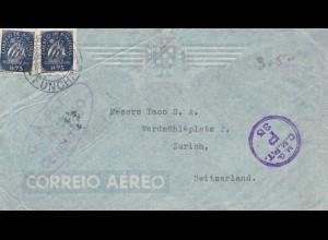 Portugal: 1944: Luftpost Bimbo/Madeira mit Elefant und Zensur in die Schweiz