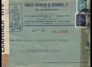 Portugal: 1944 Luftpost Lisboa nach USA