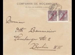 Portugal: Brief Companhia de Mocambique Lisboa nach Berlin