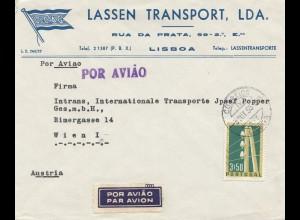 Portugal: 1955: Luftpost Lisboa nach Wien