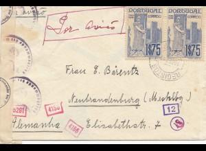 Portugal: 1941: Lisboa nach Neubrandenburg, Zensur