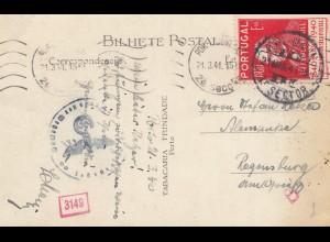 Portugal: 1941: Ansichtskarte Porto nach Regensburg