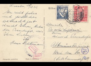 Portugal: 1942: Estoril Ansichtskarte nach Altmünster, Zensur