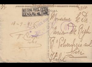 Portugal: 1916: Ansichtskarte Ericeira nach Italien, Zensur