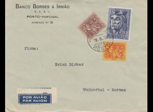 Portugal: 1955 Luftpost Porto nach Wuppertal - Perfin