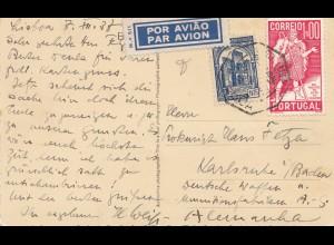 Portugal: 1938: Luftpost Ansichtskarte Lisboa nach Karlsruhe