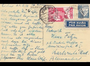 Portugal: 1958: Ansichtskarte Lisboa per Luftpost nach Karlsruhe