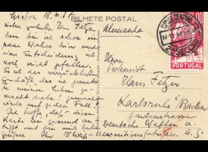 Portugal: 1937: Ansichtskarte Lisboa nach Karlsruhe