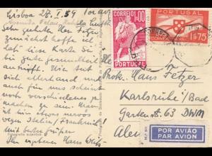 Portugal: 1959: Ansichtskarte Lisboa als Luftpost nach Karlsruhe