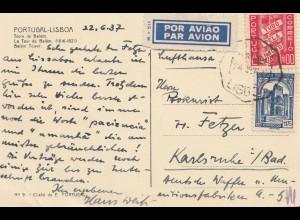 Portugal: 1937: Ansichtskarte Lisboa als Luftpost nach Karlsruhe